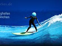 Children Surfing in Wave Pool of Munich Airport