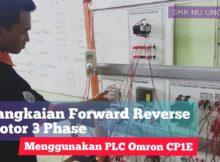 Rangkaian Forward Reverse Motor 3 Phase PLC Omron CP1E
